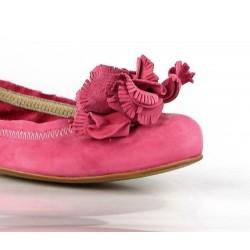 zapatos rosas con flor 7650