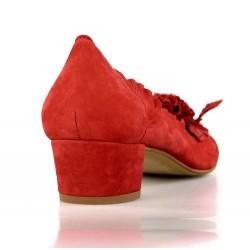 zapatos rojos de piel con flor 6950