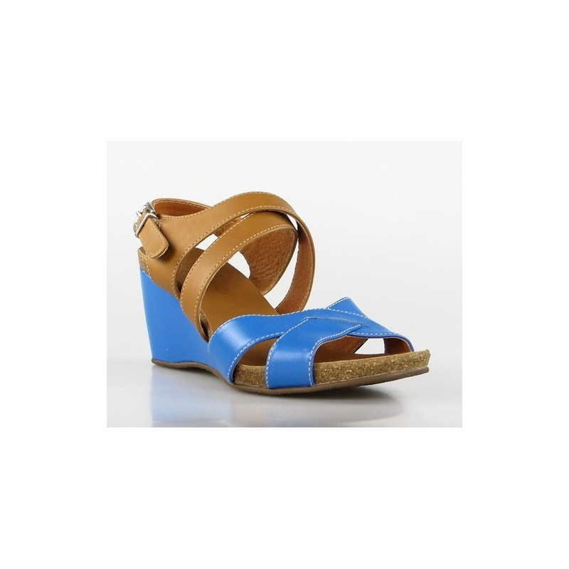 sandalias con cuña azul n17