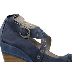 zapatos azules con cuña . 6703