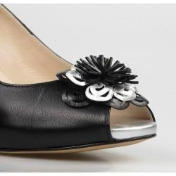 peep toe negro con flor 65