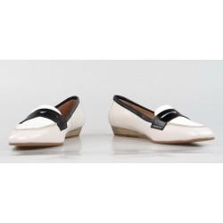 zapatos de piel beige con cuña 20146