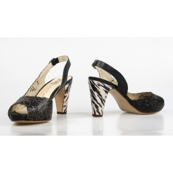 zapatos marrones tacón jirafa 8237