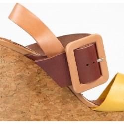 sandalias de piel con cuña de corcho 7675