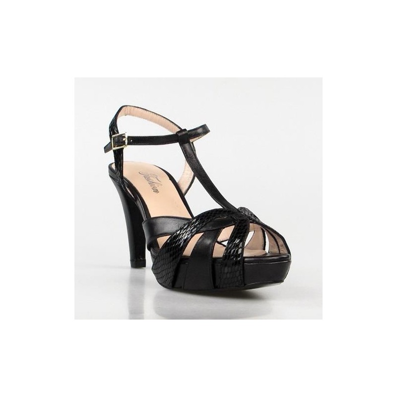 sandalias elegantes negras .1459