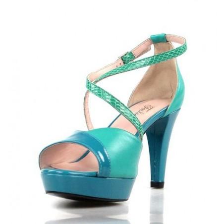 sandalias  azul y verde turquesa .1448