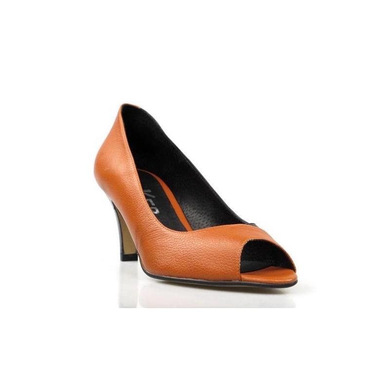 peep toe negro y naranja .ka2