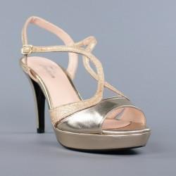 sandalias doradas de vestir con plataforma .1552