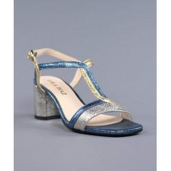 Sandalia azul multicolor.830