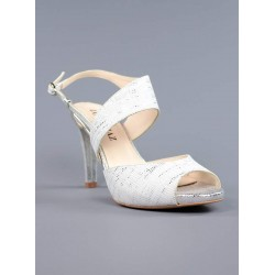 Sandalias plata piel grabada.863