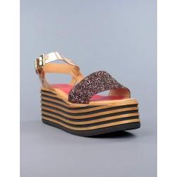 Sandalia glitter flatform.17368