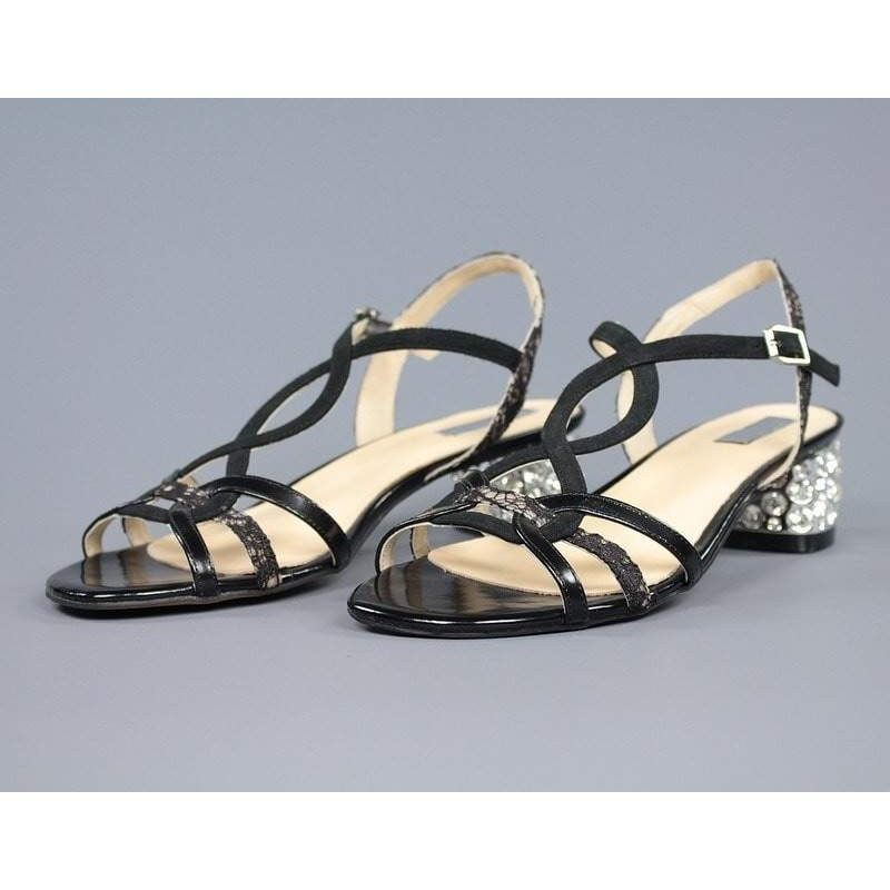 Sandalia negras tacón joya.55265