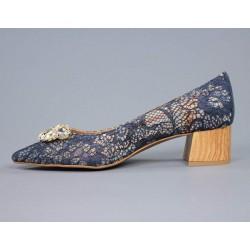 Zapatos azules encaje.55621