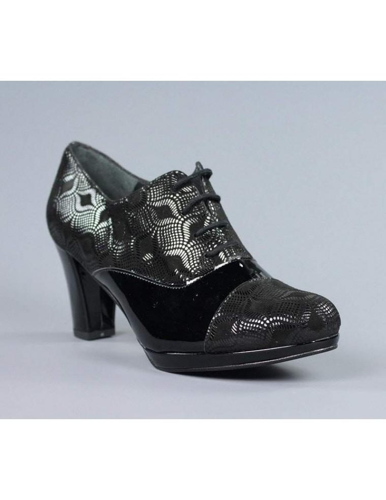 aaaadbed Zapatos abotinados negros con cordones.1724. Loading zoom