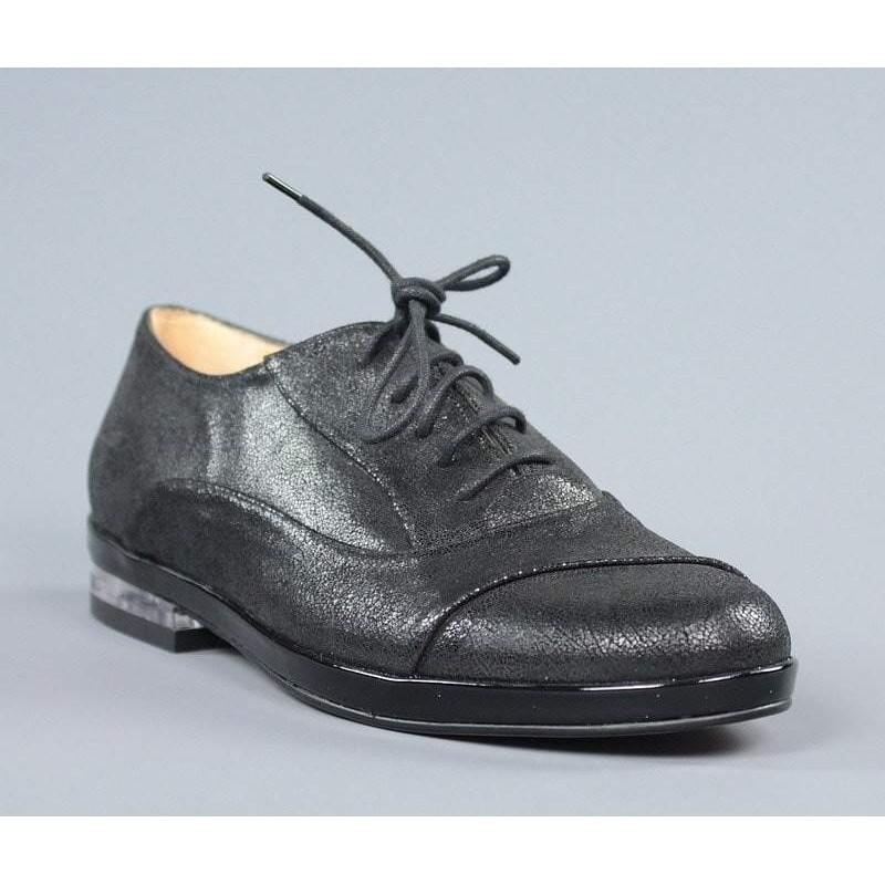 nuevo estilo 123ac 271fd Zapatos de mujer negros planos con cordones