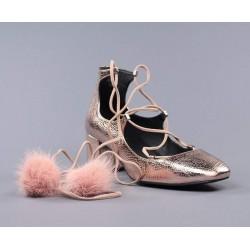 Zapatos rosas cordones.6039ro
