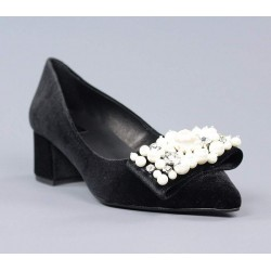 Zapato perlas negro.60241