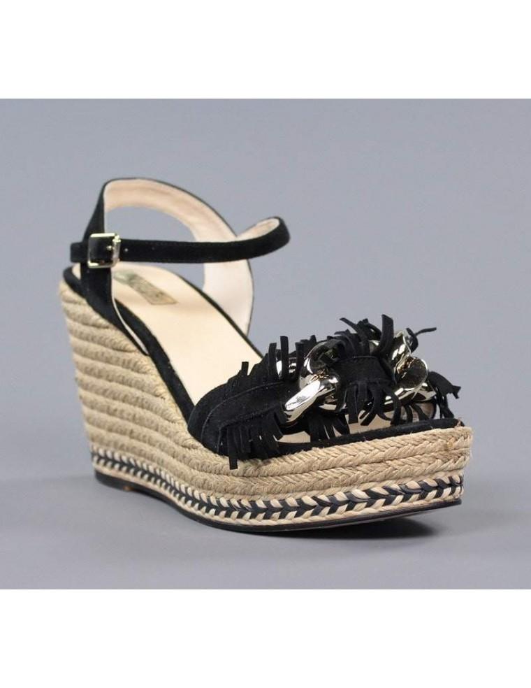 81db828e109 sandalias de mujer negras de ante con cuña de esparto