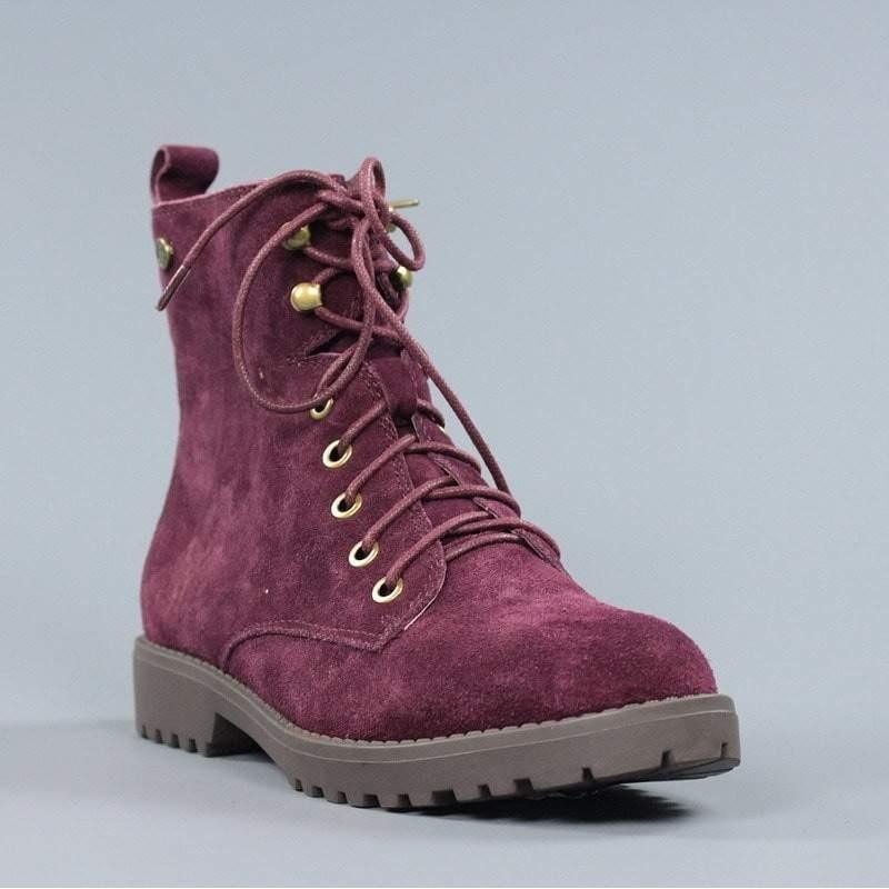 eefe3fa1987 botines de mujer cordones serraje burdeos carmela