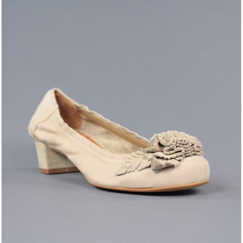 Zapatos Tacón Zapatos Beige De Cuadrado MVUzpqS