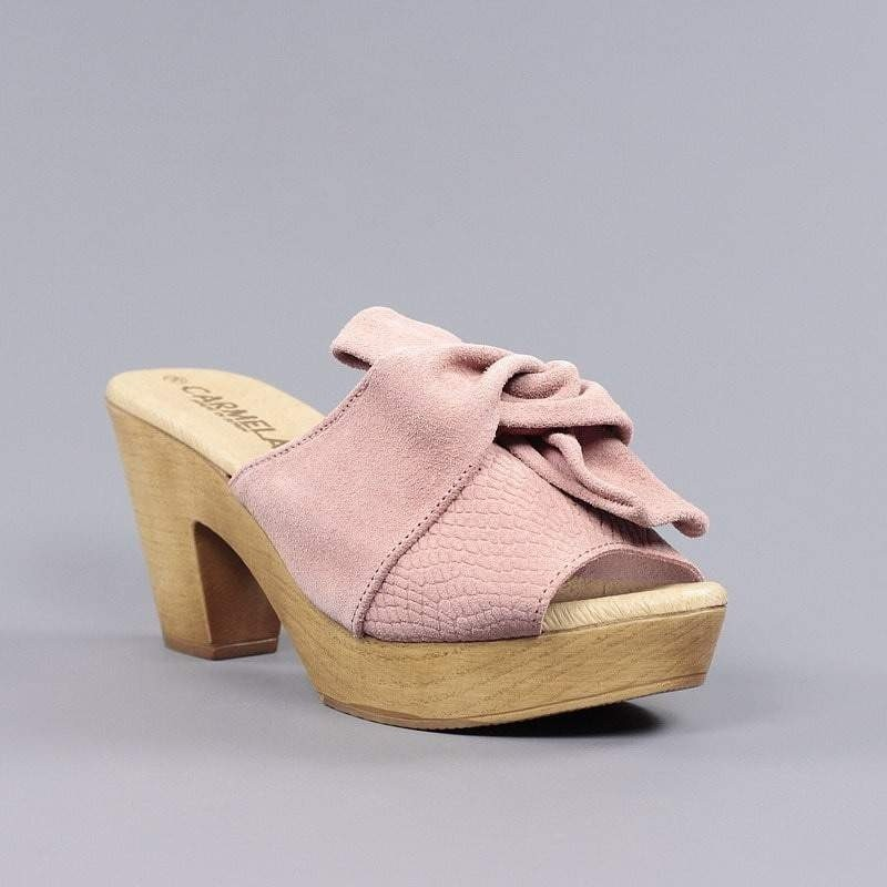 2ee9501318c sandalias de mujer carmela zueco rosa con tacón y plataforma