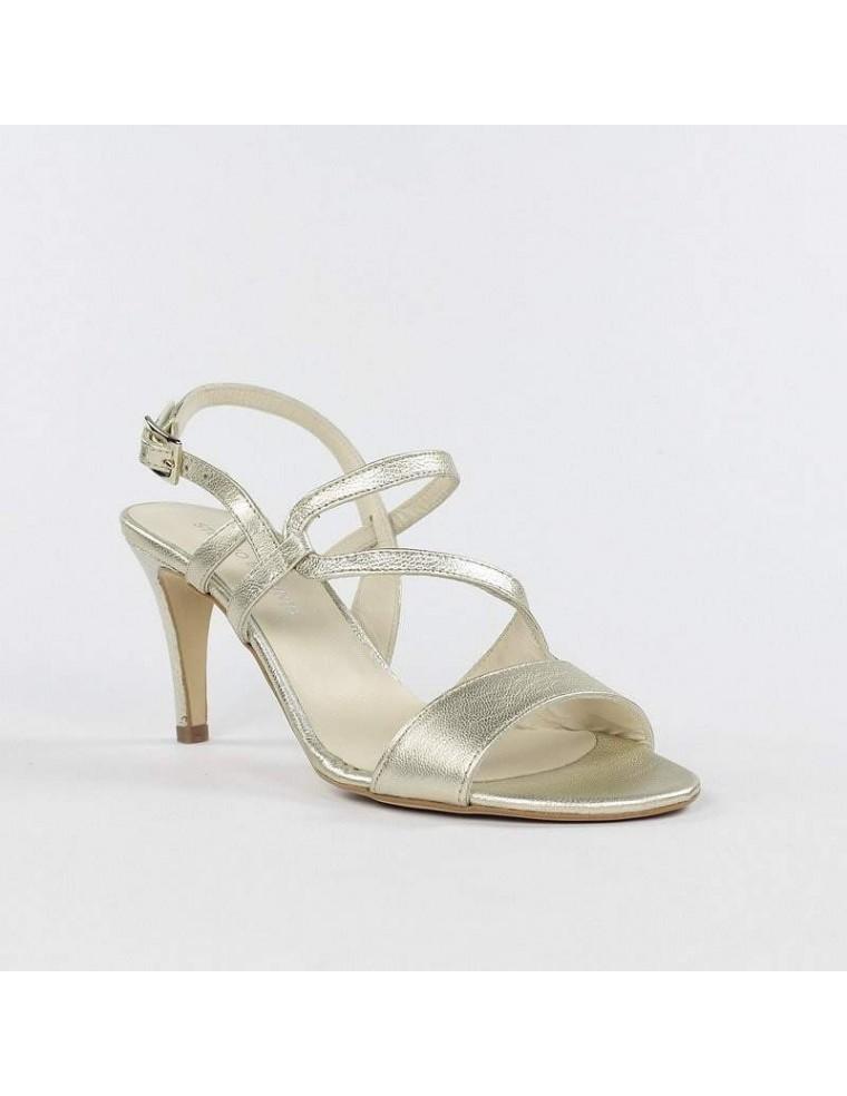 7757684bb sandalias doradas de tacón fino para vestir en outlet de zapatos