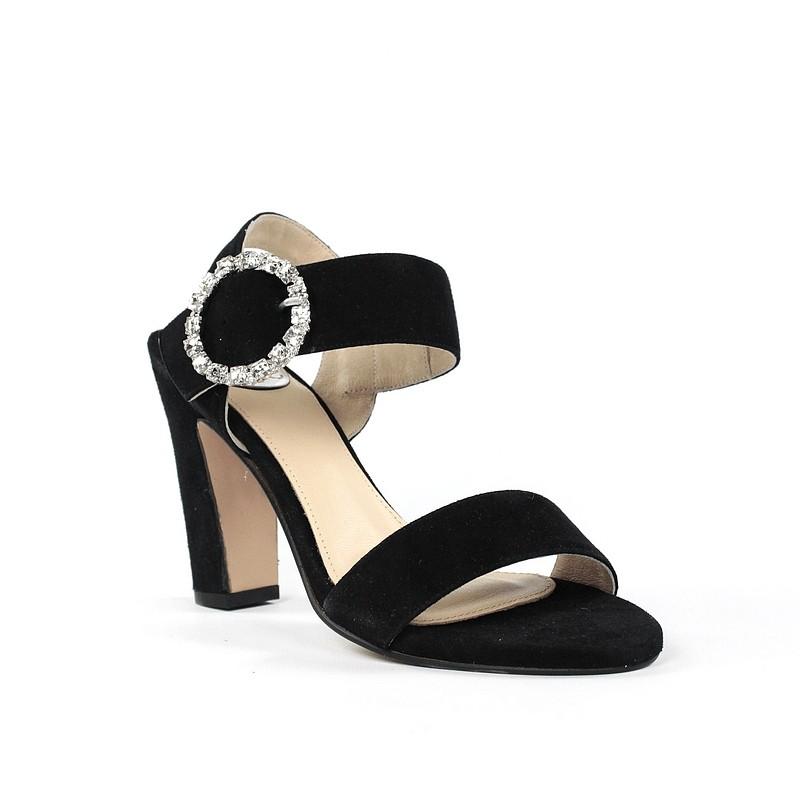 Sandalia negra ante tacón .37ely5
