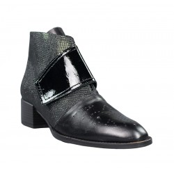 botines piel mujer outlet negros con velcro.