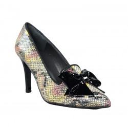 Zapatos de tacón fino serpiente con lazo