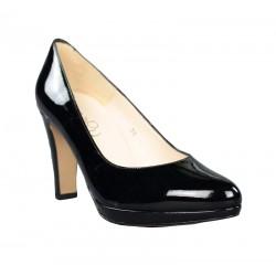 Zapatos tacón  y plataforma charol negro piel