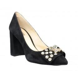 Zapatos de tacón joya negros de ante