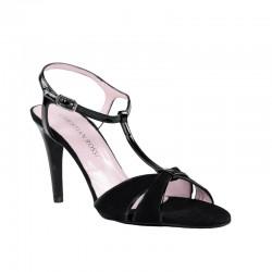 Sandalias de tacón fino elegantes negras
