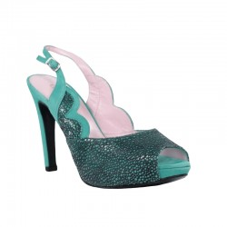 Zapatos peep toeverde turquesa