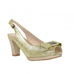Zapatos tacón y plataforma salones destalonados dorados