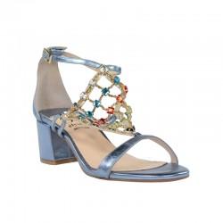 Sandalias tacón azules metalizadas con pedrería