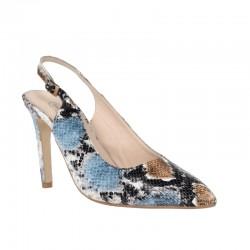 Zapatos tacón alto destalonados serpiente
