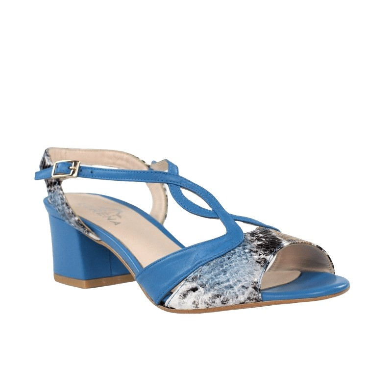 Comprar sandalias baratas de piel azules con serpiente