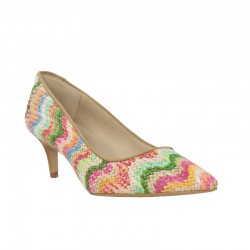 Calzado barato mujer salones rafia multicolor