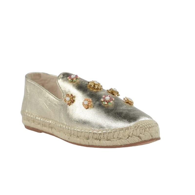 Zapatos piel mujer alpargatas doradas