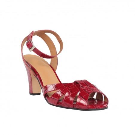 Sandalias tacón mujer rojas piel coco.