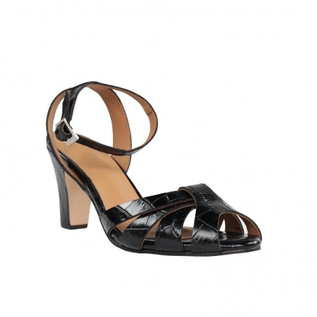 Sandalia tacón negra piel coco .
