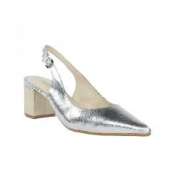 Zapatos baratos mujer piel , salones destalonados plata