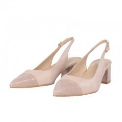 Zapatos mujer piel , salones destalonados nude