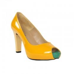 Zapatos baratos peep toe amarillo piel charol