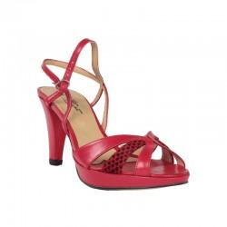 Sandalias tacón mujer rojas de piel con plataforma.