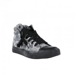 Zapatillas baratas de mujer abotinadas refresh tejido negro floral