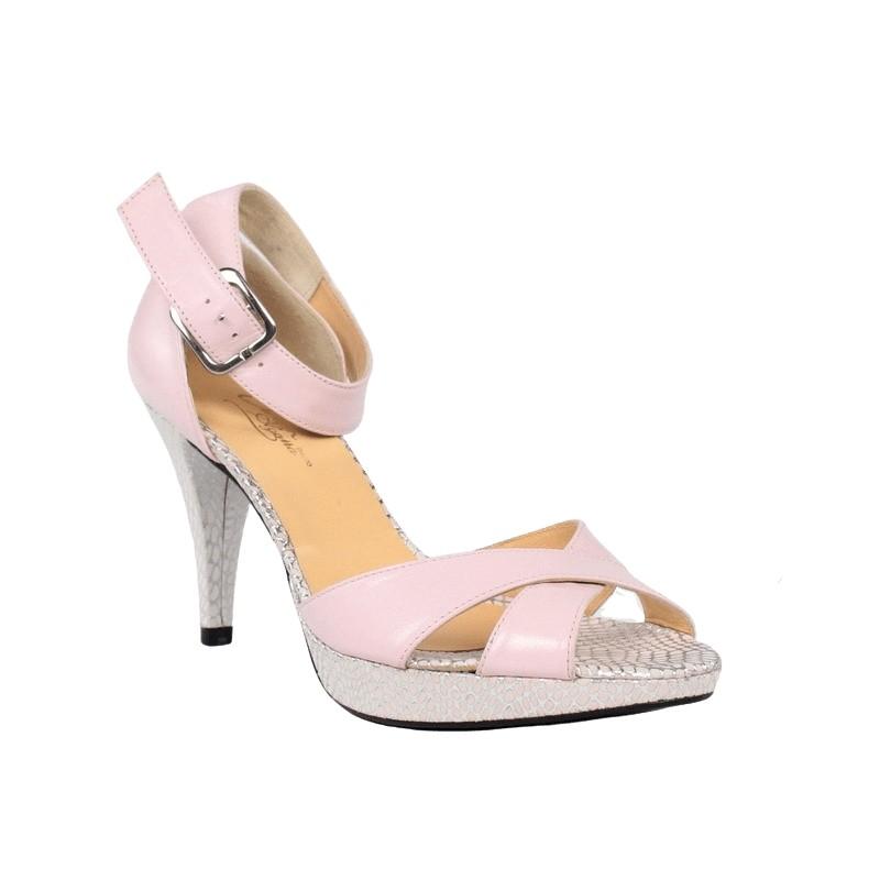 Sandalias plataforma baratas de piel rosa elegantes con pulsera