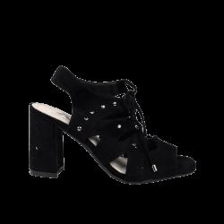 Sandalias de tacón negras atadas xti baratas