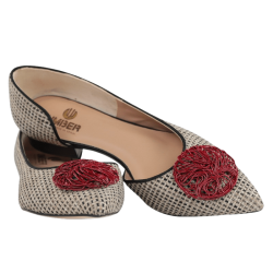 Zapatos planos mujer verano umber tejido con adorno