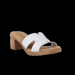 Sandalias gel tacón destalonadas blancas de piel